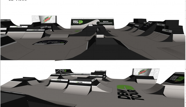DESIGNS FOR RAMPS AND STADIUMS FOR DEW TOUR COMPETITION IN OCEAN CITY, MD