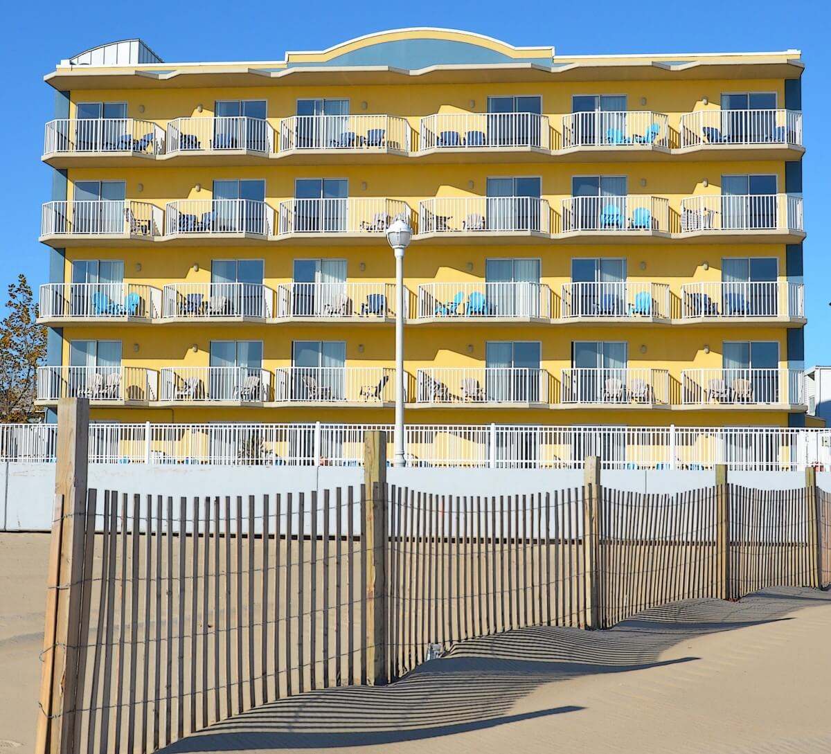 The Crystal Beach Hotel Is Located Beachfront On Boardwalk At 25th Street And Has Balconies A Pool With An Ocean View
