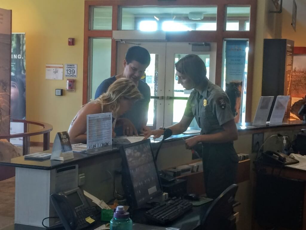 People stop in all day for directions and information about the park as well as the local area. The National Park Ranger interpreters always are helpful.