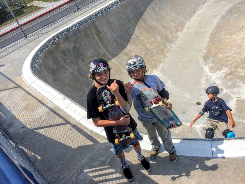 kids at the skate park