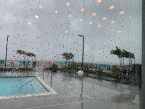 view of bayside pool at Aloft during effects of Dorian