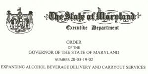 Gov Hogan Executive Order: Beer Wine & Liquor Can Now Be Delivered