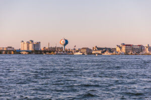 Ocean City Skyline from OC Bay Hopper Shore Craft Beer Cruise